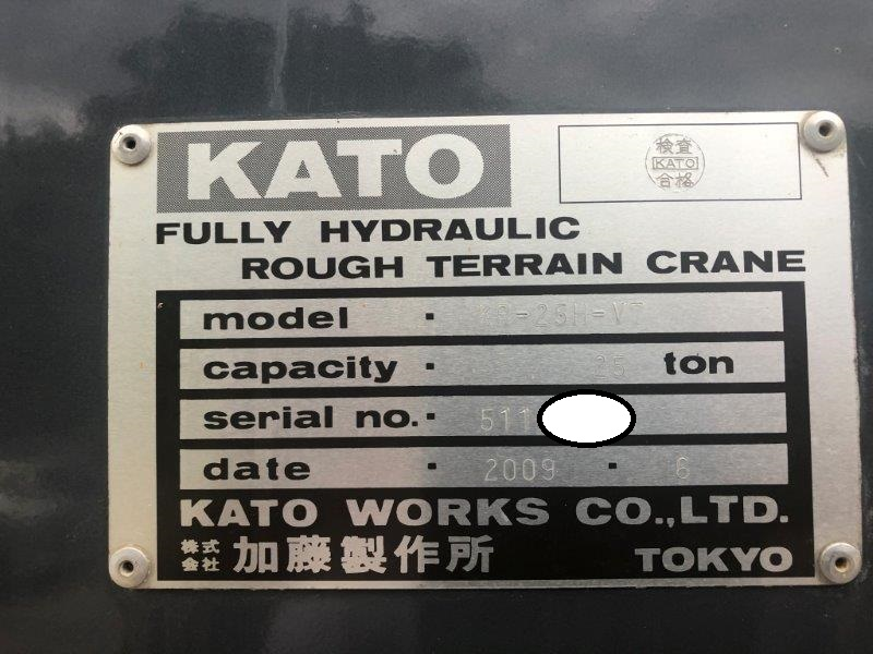 Used 25 tons Rough Terrain Crane Kato KR-25H-V7 2009yr from Japan